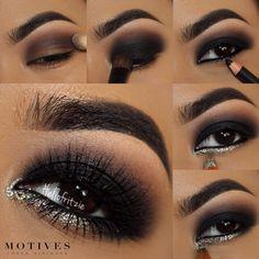 black women's makeup d Smoke Eye Makeup, Glitter Eye Makeup, Eye Makeup Art, Airbrush Makeup, Eye Makeup Tips, Kiss Makeup, Makeup Inspo, Makeup Tricks, Makeup Ideas