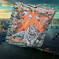 Check out this item in my Etsy shop https://www.etsy.com/listing/529223518/tiger-art-scarf-green-orange-wearable