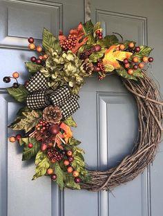 Fall wreaths for front door crown for the Etsy door trap wreath - Blumen Dekoration Diy Fall Wreath, Wreath Crafts, Holiday Wreaths, Wreath Ideas, Winter Wreaths, Spring Wreaths, Summer Wreath, Autumn Wreaths For Front Door, Fall Door
