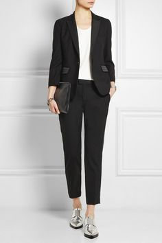 Black wool-piqué Concealed hook and zip fastening at front 100% wool; lining: 100% cotton Dry clean