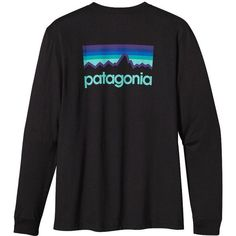 Patagonia Men's Long-Sleeved Line Logo T-Shirt ($45) ❤ liked on Polyvore featuring mens, men's clothing, men's shirts, men's t-shirts, tops, shirts, black и long sleeved tee