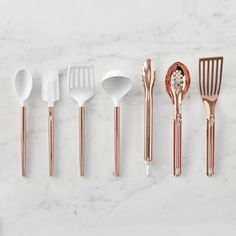 Gold cooking Utensils - Ultimate Copper Utensils, Set of Kitchen Items, Kitchen Gadgets, Kitchen Tools, Kitchen Cabinets, Kitchen Stuff, Rose Gold Kitchen Appliances, Kitchen Utensil Set, Chef Kitchen, Kitchen Canisters