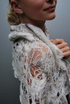 linen/felt scarf