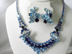 VTG JULIANA 3 DIMENSIONAL SAPPHIRE BLUE RHINESTONE LITE BLUE NECKLACE & EARRING  #JulianaDelizzaElster