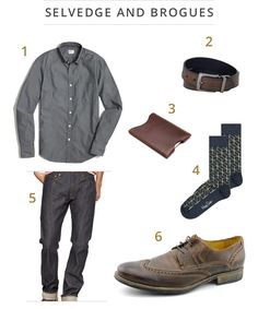 Taylor Lautner, the Twilight star, adds some contrast to his dark outfit with brown brogues. You can get the look with J.Crew Factory sunwashed oxford and GAP Japanese selvedge jeans. Coordinate the brown brogues with a Levi's reversible belt and Happy Socks optic socks and you've got a killer look. A Saddleback wallet sleeve will also fit quite nicely inside those slim fit selvedge jeans.
