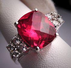 Vintage Ruby Ring Estate Art Deco Design Wedding Retro.