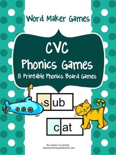 CVC Phonics Games from Games 4 Learning contains 8 printable CVC Phonics Board Games. $