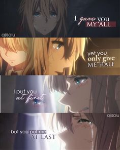 Violet Evergarden I gave you my all but you only give mr half. Sad Anime Quotes, Manga Quotes, Sad Love Quotes, True Quotes, Wolf Quotes, Best Quotes, Moody Quotes, Violet Evergarden Anime, Emo