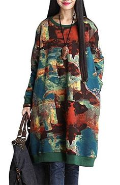 9c1285b7927 Hot saleRetro Style Print O Neck Long Sleeve Loose Vintage Women Dress  Cheap - NewChic Mobile.