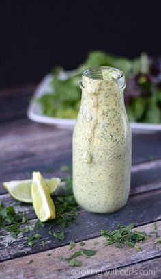 Cilantro Lime Dressing This versatile Creamy Cilantro Lime Dressing is perfect on salads, and as a dipping sauce for seafood.This versatile Creamy Cilantro Lime Dressing is perfect on salads, and as a dipping sauce for seafood. Sugar Free Salad Dressing, Lime Salad Dressing, Salad Dressing Recipes, Creamy Cilantro Dressing, Seafood Dressing Recipe, Greek Yogurt Salad Dressing, Low Carb Salad Dressing, Salades Taco, Steak Salat