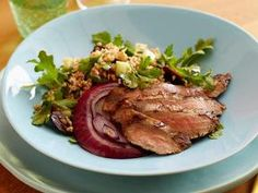 Flank steak with tabouleh.