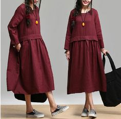Loose Fitting Long Maxi Dress - Dress in Red- (R) Long Sleeved Linen Dress for Women