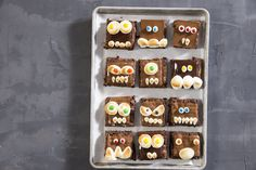 How to Make Monster Brownies .Your little human monsters will love decorating brownies with chocolate, marshmallows, and M&M's to make these sweet Halloween treats