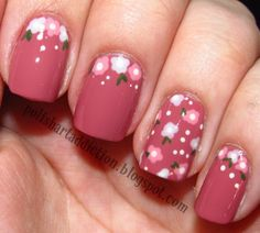 Simplistic nail designs maroon pink and flowers