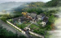 Ancient Chinese Architecture, Asian Architecture, Landscape Architecture, Japanese Castle, Japanese House, Beautiful Villas, Beautiful Homes, Courtyard House Plans, Forest House