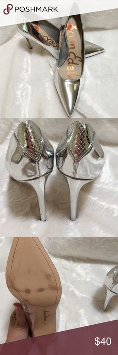 Sam Edelm Silver shoes NWOT 4 inches high •little scratch on side of left shoe (very hard to see) •no box Sam Edelman Shoes Heels