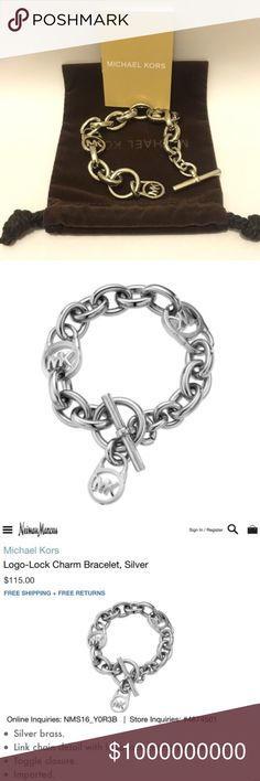 """Michael Kors Logo-Lock Charm Bracelet 100% Authentic! Worth  over $120 (incl tax)  No original hang tag; comes in original packaging, dust bag and booklet.  Color Silver ✑ Gold Plated ✑ Post closure for pierced ears. ✑ Width: 0.35""""  Price Firm No trades Michael Kors Jewelry Bracelets"""
