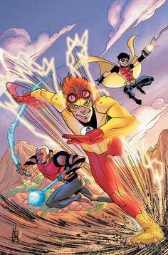 Kid flash, Aqua Lad, and Robin