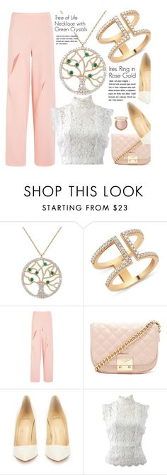 """""""Spring Formal"""" by amorium ❤ liked on Polyvore featuring Amorium, Forever 21, Christian Louboutin, Oscar de la Renta, Too Faced Cosmetics, white, Pink, rose and springformal"""