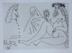 Pablo Picasso, At the Circus: Chariot & Clown (La Célestine, Pablo Picasso Drawings, Picasso Sketches, Picasso Art, Georges Braque, Celestine, Cubist Movement, Guernica, Erotic Art, Line Drawing