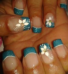 Neon Acrylic Nails, Acrylic Nail Tips, Cute Acrylic Nail Designs, Flower Nail Designs, Glitter Nail Art, Nail Art Designs, Nails Design, Elegant Nails, Classy Nails