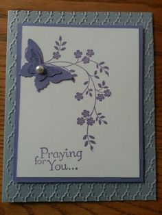 Sympathy card featuring Stampin' Up! Thoughts and Prayers stamp set and beautiful wings embosslit. by kara