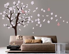 http://www.kidswalldecalsource.com/products/white-cherry-blossom-tree-wall-decal  This pretty tree wall decal goes great in any nursery or children's room, it is a simple and affordable way to update a bedroom and it looks awesome. Get it today.