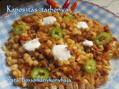 Káposztás tarhonya (Gluténmentesen is) recept foto Ravioli, Pork Recipes, Chili, Oatmeal, Paleo, Food And Drink, Soup, Rice, Canning