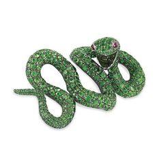 green garnet and pink sapphire snake clip-brooch #jewelry
