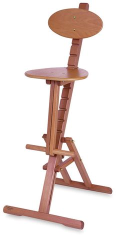 This beautifully handcrafted stool is constructed of oiled beechwood and adjusts to six different heights, ranging from to high. Ideal for use with the Mabef Painting Workstation, its ergonomic design features a foot rest and a oval backrest. Woodworking Shop Layout, Woodworking Furniture Plans, Woodworking Projects That Sell, Woodworking Toys, Japanese Woodworking, Woodworking Basics, Popular Woodworking, Wood Projects That Sell, Barn Wood Projects