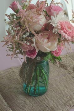Antique Mason Jar with pink roses & daisies.