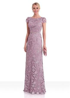 Bridesfamily Eye-catching Lace Jewel Neckline Cap Sleeves Sheath/Column Evening Dress With Sash Gala Dresses, Dressy Dresses, Modest Dresses, Mom Dress, Lace Dress, Mother Of Groom Dresses, Indian Party Wear, Long Evening Gowns, Gowns Of Elegance