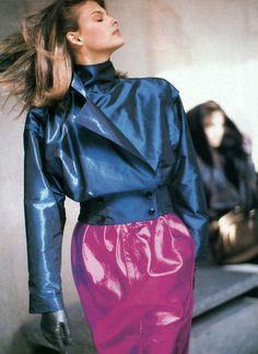 Linda Evangelista in Emanuel Ungaro, Ensemble, photographed by Arthur Elgort for Vogue, 1987