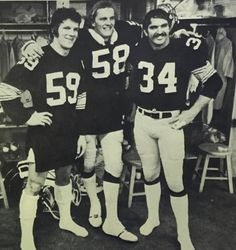 Steelers all pro linebackers Jack Ham, Jack Lambert and Andy Russell Pitsburgh Steelers, Pittsburgh Steelers Football, Pittsburgh Sports, Steelers Stuff, Alabama Football, Dallas Cowboys, American Football League, National Football League, Chuck Noll