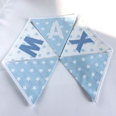 Personalised baby blue star fabric bunting made to order
