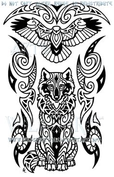 Wise Wolf And Hawk Maori Design by WildSpiritWolf on deviantART