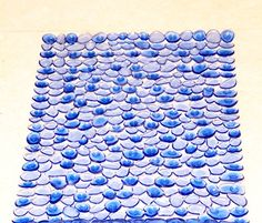 Bath Mat for Tub - Anti Bacterial and Anti Slip - Kids Friendly - Kreelax Brand PVC Bath Mat - interdesign pebblz bath mat - Color Blue + Transparent - Size - 16.53 Inch By 29.92 Inch (42 CM X 76 CM)