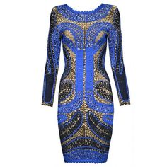 Posh Girl Blue Multi Long Sleeve Bandage Dress ❤ liked on Polyvore featuring dresses, long sleeve dress, posh girl, blue bandage dress, longsleeve dress and blue day dress