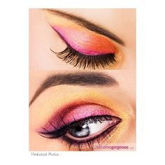 Gold and Pink Eye Makeup Look Eye Makeup Ideas pictures ❤ liked on Polyvore featuring beauty products, makeup, eye makeup, eyes, beauty and maquillaje