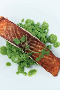 Smashed Green Peas + Pan Roasted Salmon: http://www.thehealthychef.com/2012/07/smashed-green-peas-pan-roasted-salmon/#