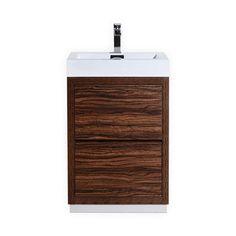 Bliss 24-Inch Walnut Free Standing Modern Bathroom Vanity Single Hole Faucet