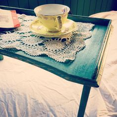 Start your day with a cuppa in bed on this sweet vintage tray table from @theshedcooroy back open today at 9am #theshedcooroy #cooroyvintage #cooroy #noosahinterland #noosavintage #shabbychic