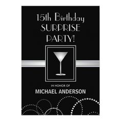 "15th Birthday Masculine Party Invitations 5"" X 7"" Invitation Card Elegant black and silver masculine birthday party invitations with champagne glass and monogram. Perfect for teen boy's or young man's birthday party. Customize it for young man's contemporary style or Surprise Party celebration ...read more"