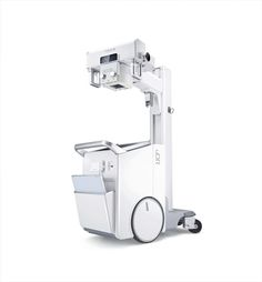 "The objective pursued in designing the uDR 370i was to create an X-ray unit for use in developing countries. The system is only 58 cm wide and therefore able to fit through narrow corridors. The batteries for the trolley and the X-ray unit are separate, which enables uninterrupted use for 21 days. The 19"" LCD touchscreen presents all data clearly. With the help of a tablet PC, operators can do imaging remotely, which thus optimally protects them from radiation damage."