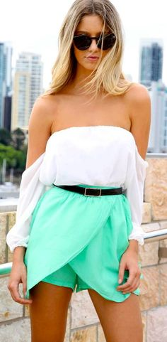 Really want a shirt like this for summer. Plus, obsessing over the color of the skirt.