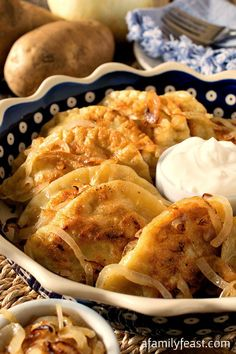 Pierogi - A year old family recipe for traditional stuffed dumplings. Recipe includes four different and delicious stuffing options From: A Family Feast, please visit Ukrainian Recipes, Russian Recipes, Russian Dishes, Ukrainian Food, Great Recipes, Dinner Recipes, Favorite Recipes, Dinner Ideas, Pasta Dishes