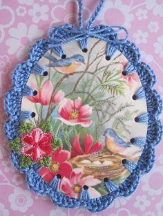 Recycled Vintage Card Illustration Birds Nest by ShoeFlower