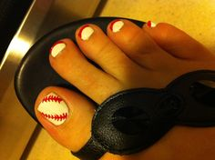 Baseball nails...reverse 4 toes with red base and white tips