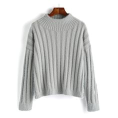 Women Mock Neck Fuzzy Sweater (€18) ❤ liked on Polyvore featuring tops, sweaters, green sweater, mock neck sweater, mock neck top, green top and fuzzy sweater
