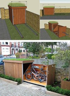 Bike storage 15 DIY Ways To Brilliantly Organize Your Backyard And Make All Your Neighbors Jealous Aufbewahrung garten aufbewahrung garten diy Backyard Bike Brilliantly DIY Jealous Neighbors Organize storage ways Outdoor Bike Storage, Patio Storage, Outside Bike Storage, Garden Bike Storage, Bike Storage In Small Space, Bike Storage In Garage, Range Velo, Build A Bike, Garden Design